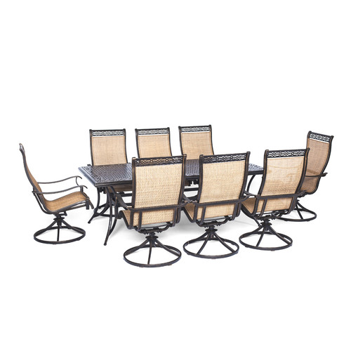 cambridge outdoor legacy 9 piece dining set with eight swivel rockers tan