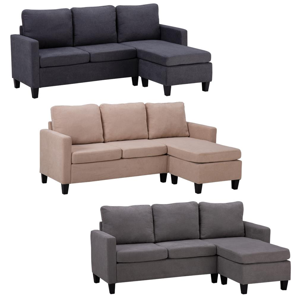 ktaxon modern 3 colors line fabric sectional double chaise longue combination l shaped sofa for living room