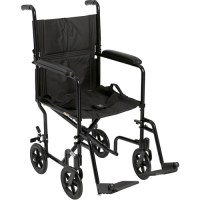 Drive Medical Lightweight Black Transport Wheelchair ...