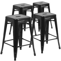 Backless Chair Height Stool Art Deco Arm Flash Furniture 24 High Metal Indoor Outdoor Counter With Square Seat 4 Pack Multiple Colors Walmart Com