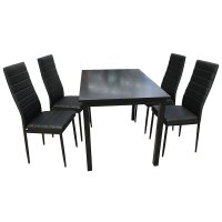 Uenjoy 5 Piece Wood Dining Table Set 4 PU Chairs Kitchen