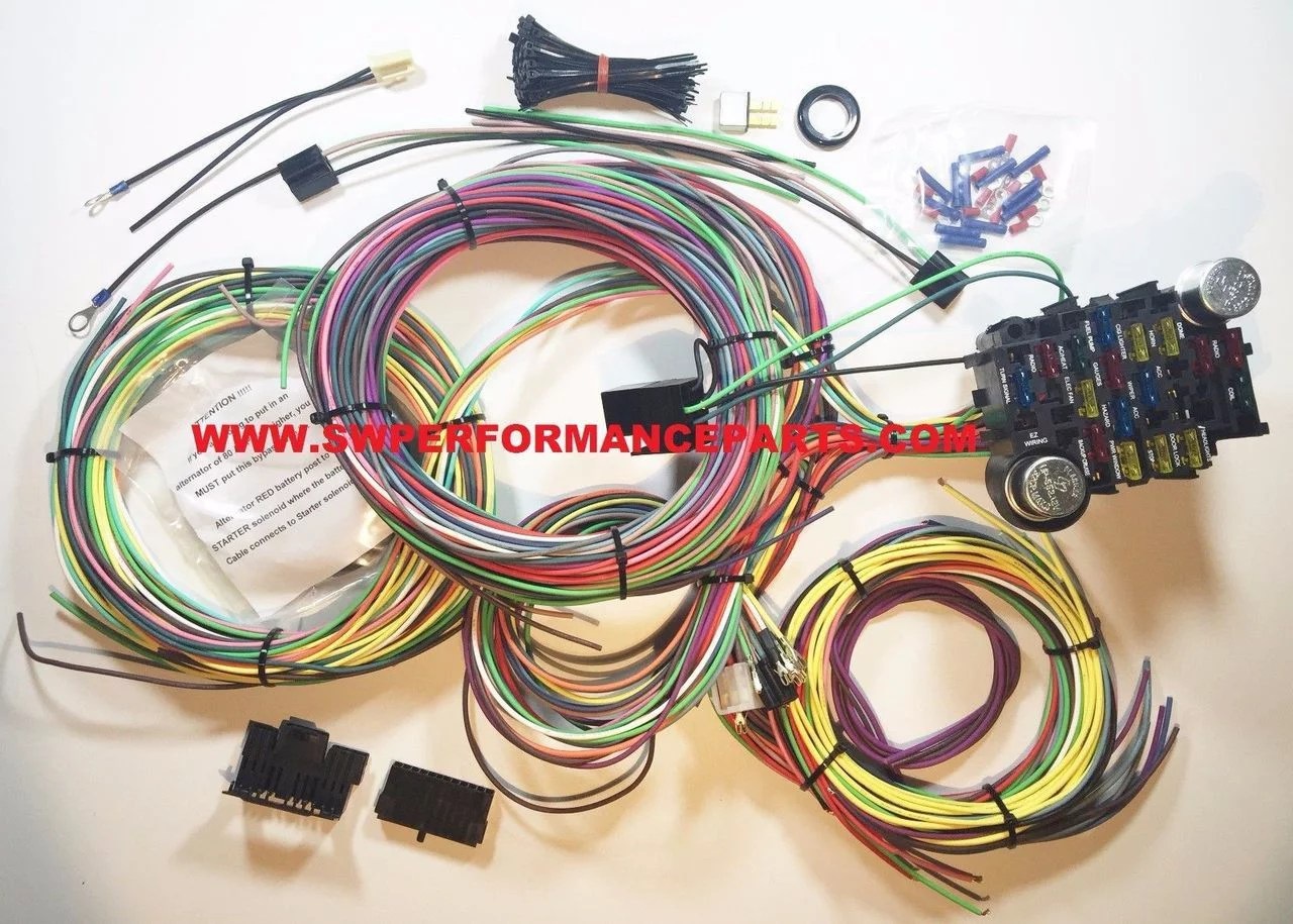 hight resolution of new 21 circuit ez wiring harness chevy mopar ford hotrods universal x long wires walmart com