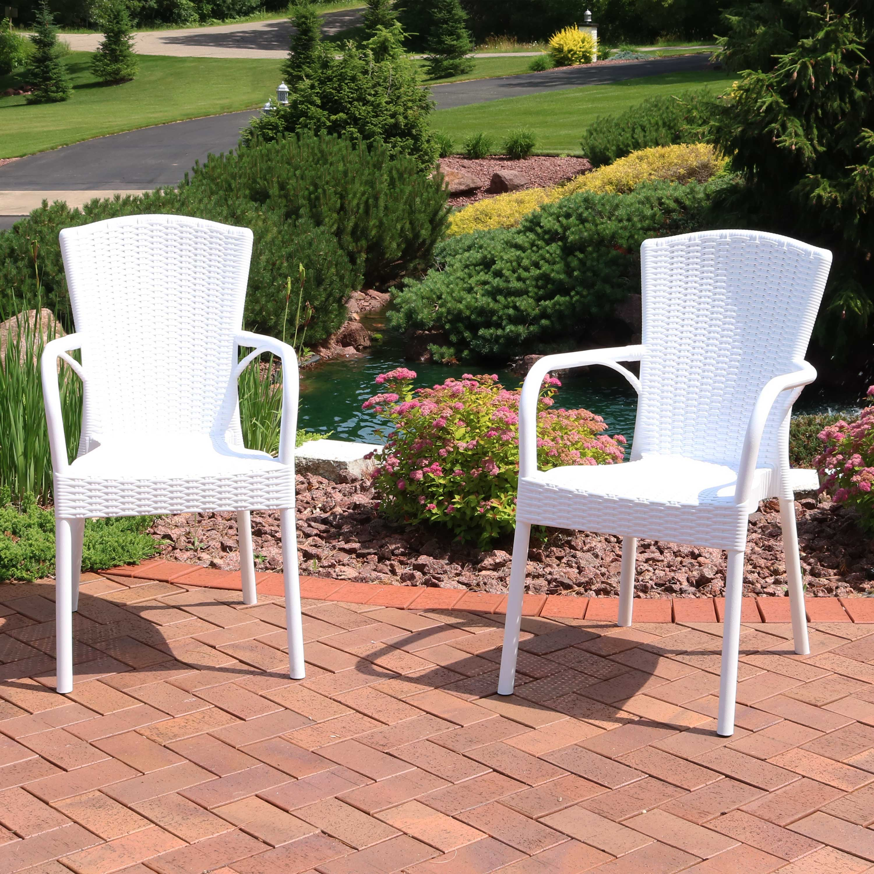 sunnydaze segesta all weather plastic outdoor dining chair commercial grade faux wicker design armchair lawn and garden chair indoor outdoor use