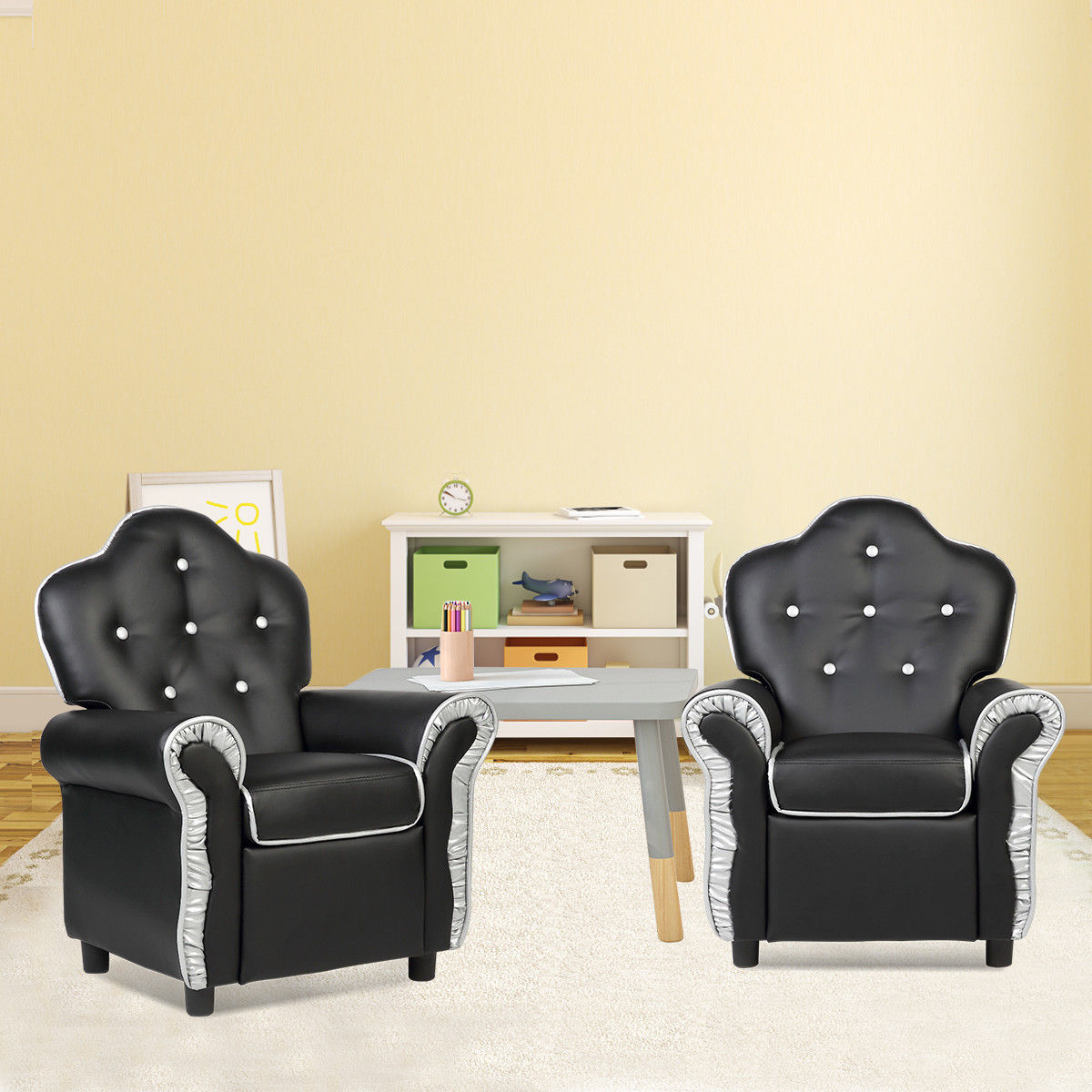 living room furniture sofa chair beautiful art for costway children recliner kids couch black