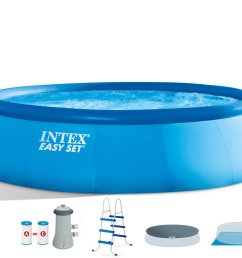 intex 15 x 42 easy set swimming pool complete kit with 1000 gph filter pump [ 3000 x 2084 Pixel ]