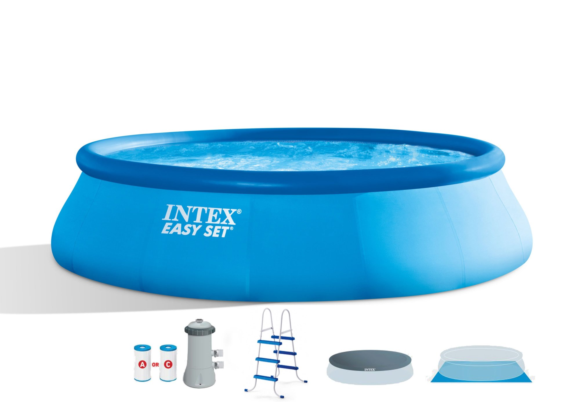 hight resolution of intex 15 x 42 easy set swimming pool complete kit with 1000 gph filter pump