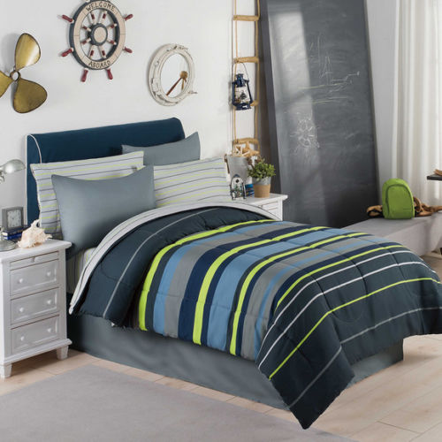 gray blue green boys stripe twin comforter set 6 piece bed in a bag