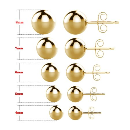 UHIBROS 316L Surgical Stainless Metal Spherical Ball Studs Earrings 5 Pair Set Assorted Sizes -Gold 90731eb7 ca20 4820 81a0 24a091485799 1