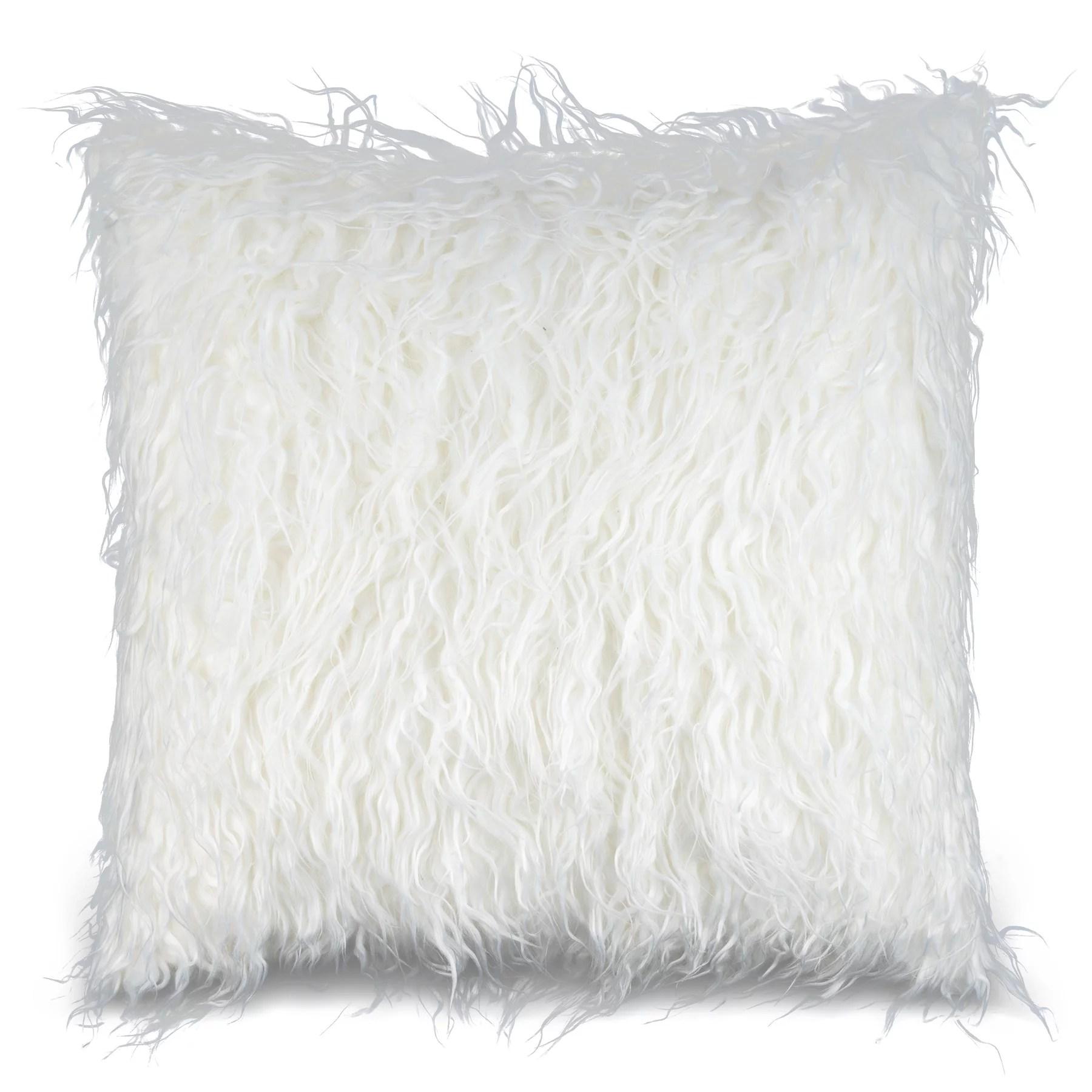 mauby home decorative pillows mongolian faux fur pillow throw pillows 18 x 18 square white