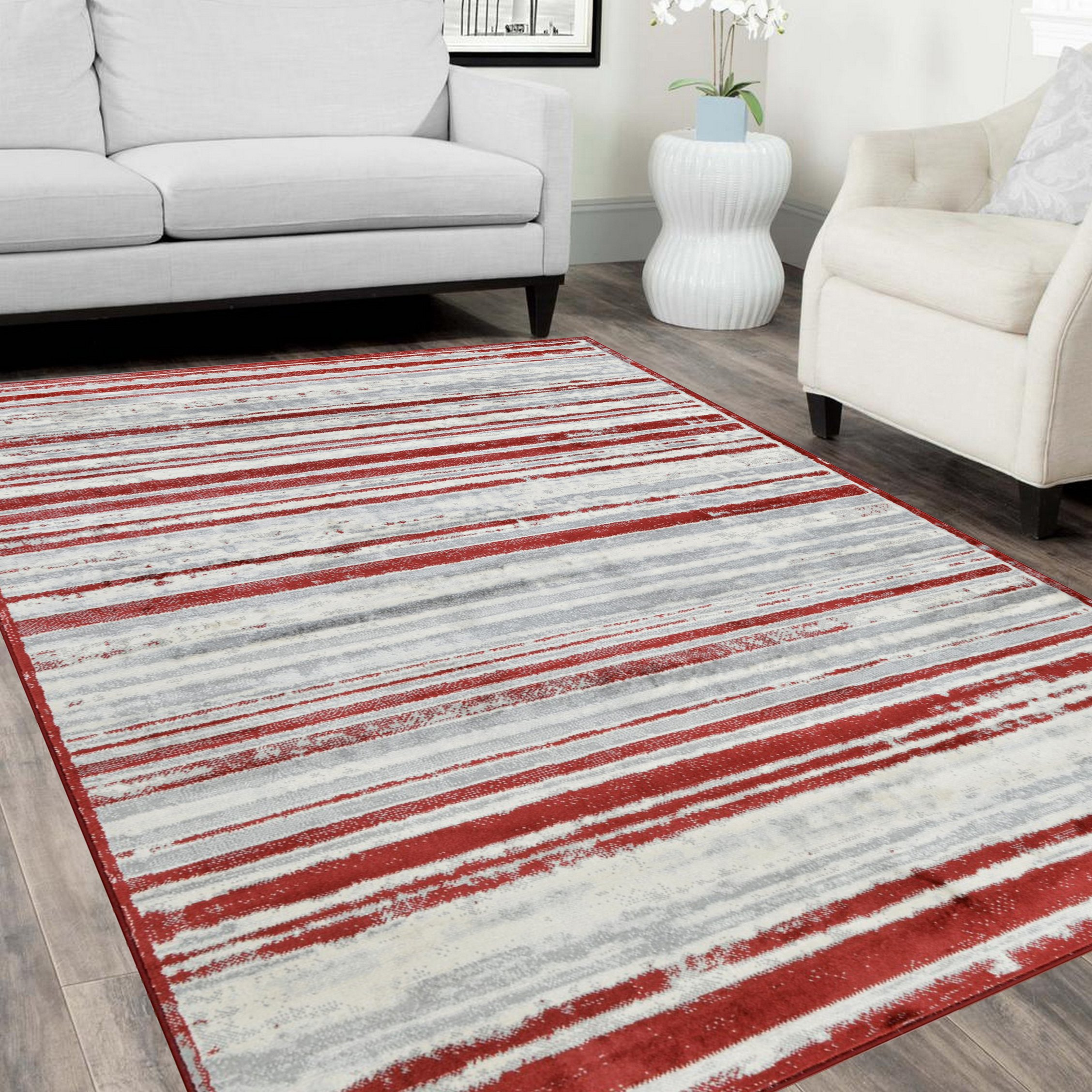 HR Red & Gray Rugs Stripped Pattern Area Rug 5x7 Contemporary Carpet Gray Ultra Soft Luxury ...