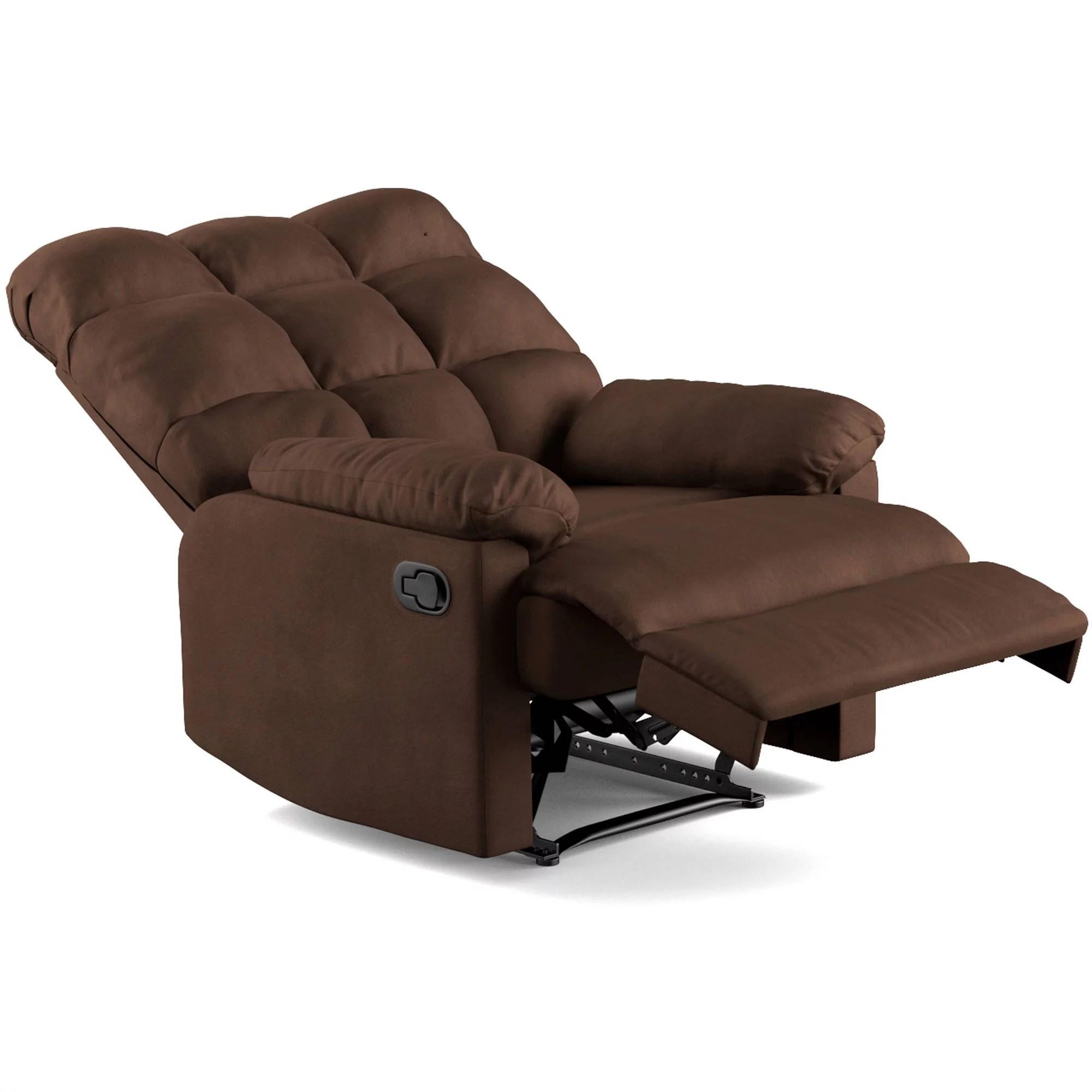 wall hugger recliner chair wood floor mat mainstays baja microfiber biscuit back multiple colors walmart com