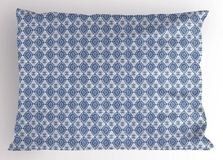 blue and white pillow sham abstract tie dye style ikat shibori pattern in bohemian fashion decorative standard size printed pillowcase 26 x 20