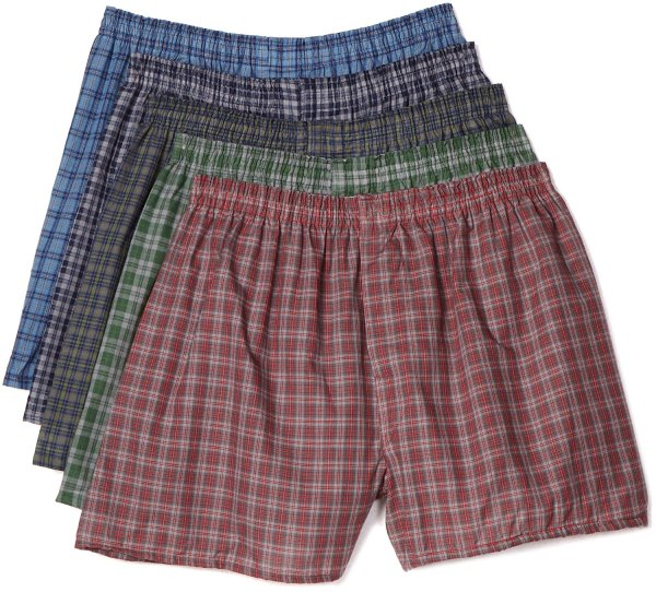 Fruit Of Loom Mens Woven Plaid Boxers 5 Pack 3xl