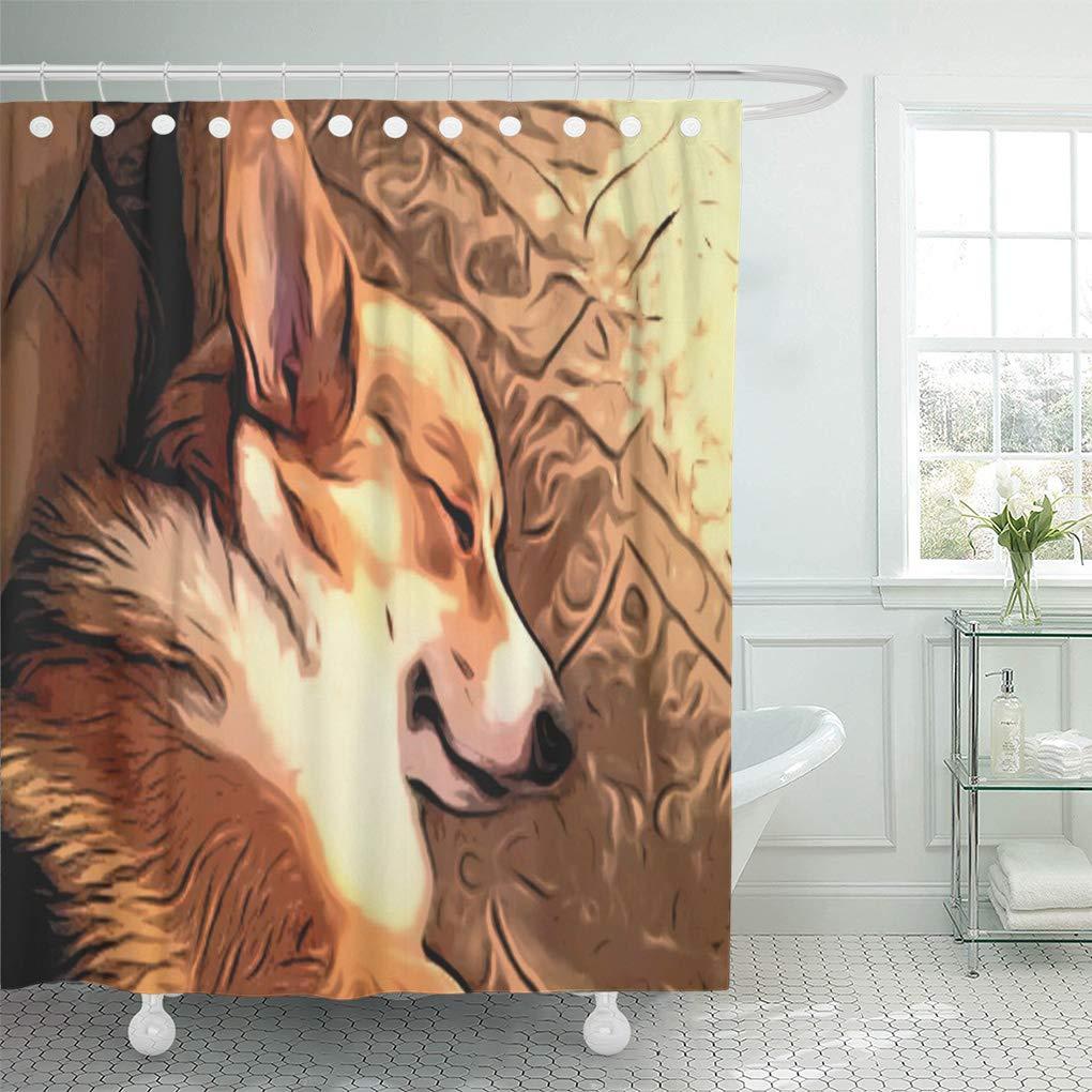 cynlon pembroke sleeping welsh corgi dog tri color bathroom decor bath shower curtain 66x72 inch