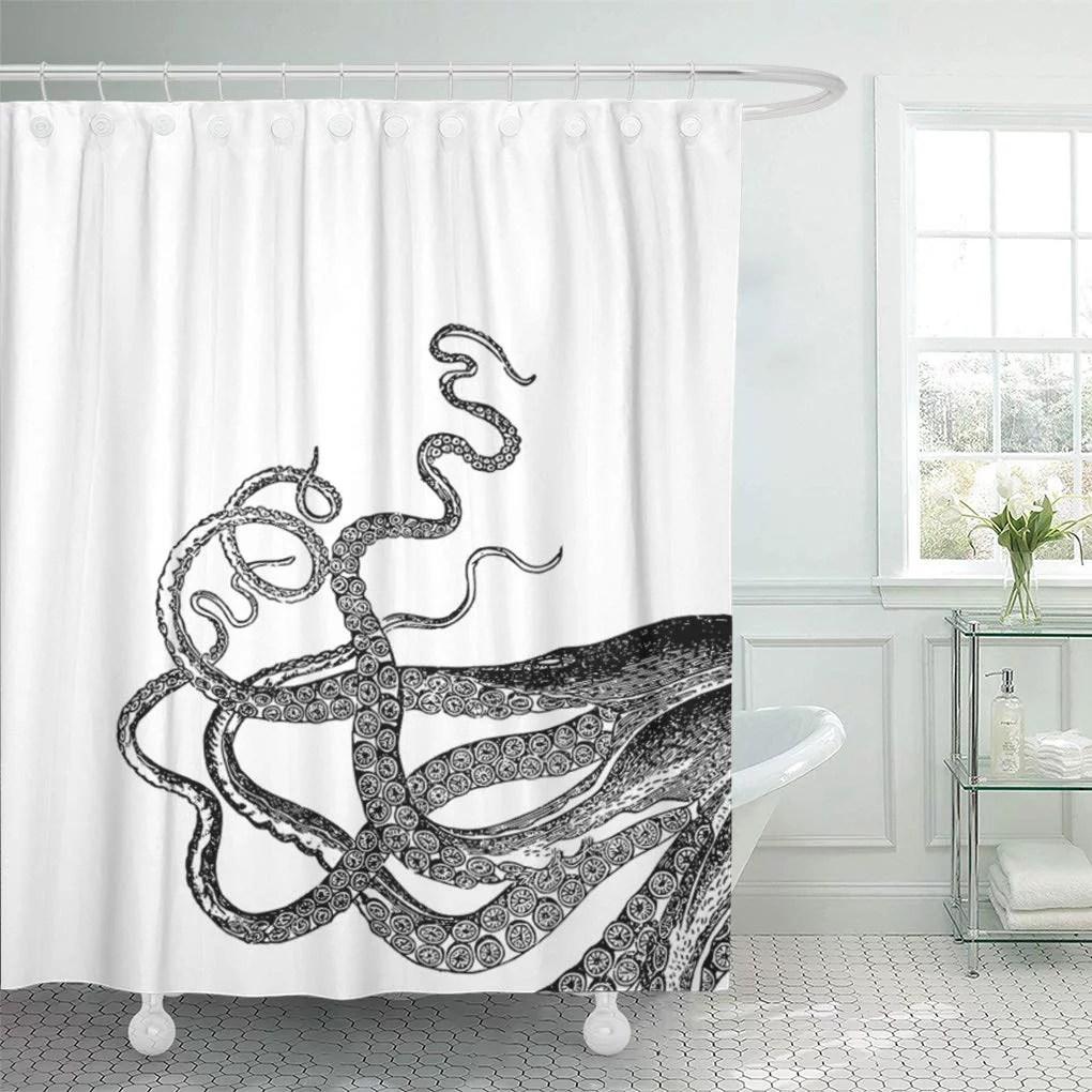 suttom black octopus tentacles white vintage sea ocean squid kraken shower curtain 66x72 inch walmart com