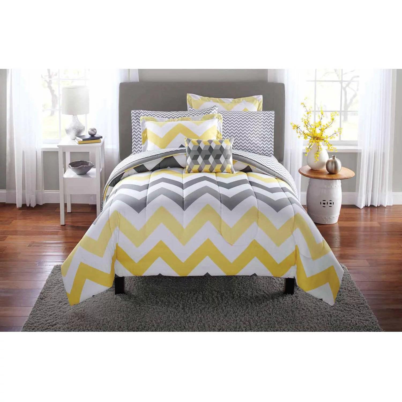 Grey And Yellow Chevron Bedding