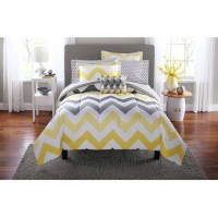 Mainstays Yellow Grey Chevron Bed in a Bag Bedding
