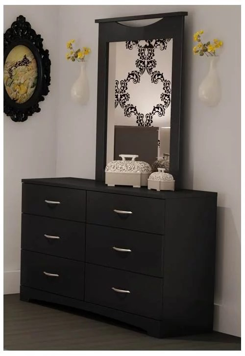 6 drawer dresser w mirror in black step one collection