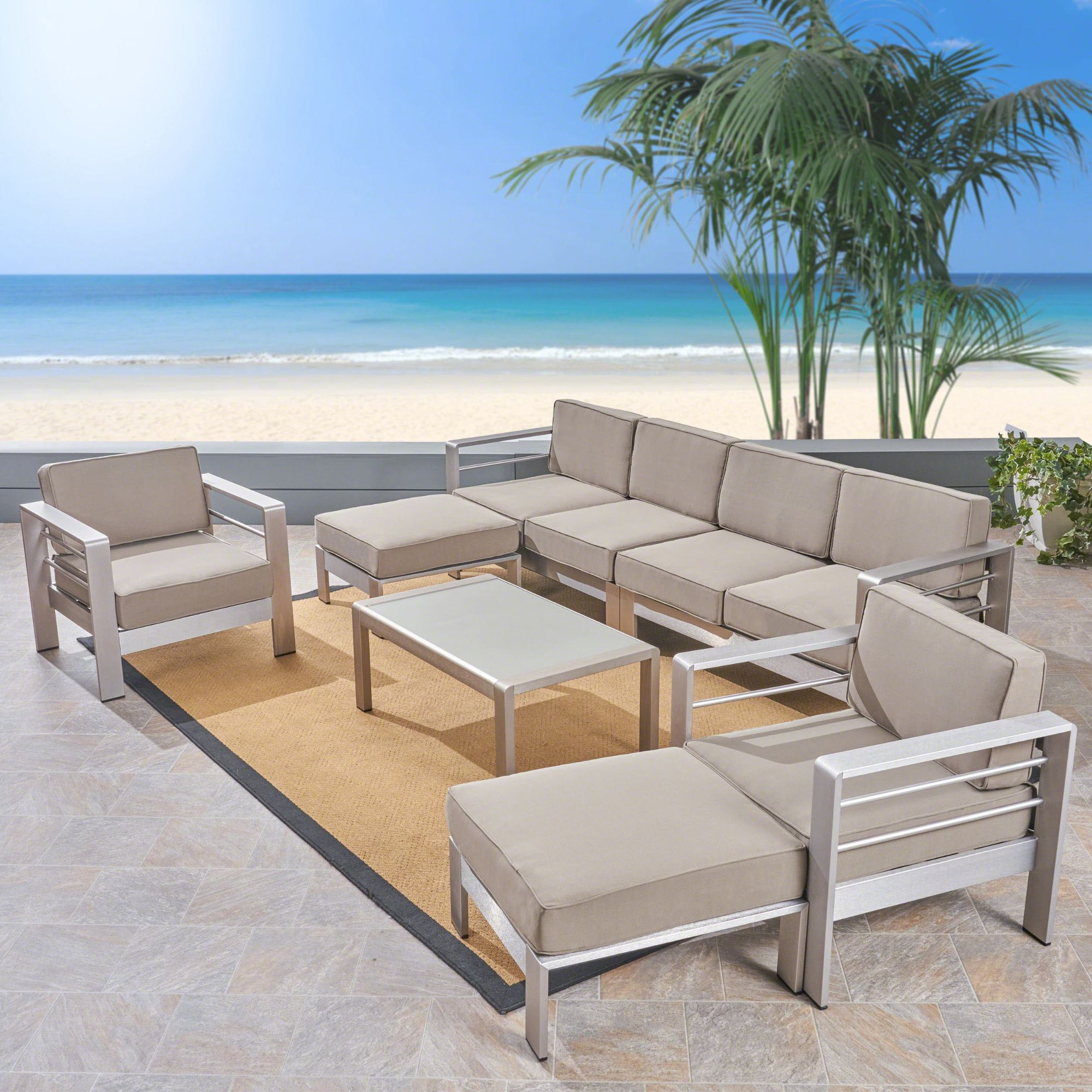 7 piece silver contemporary outdoor furniture patio sectional sofa set brown cushions