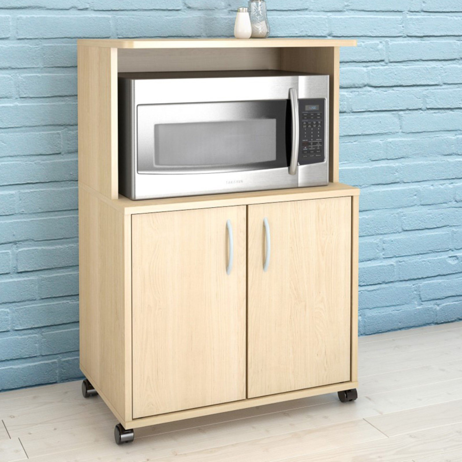 Microwave Kitchen Cart with Storage Pine  Walmartcom