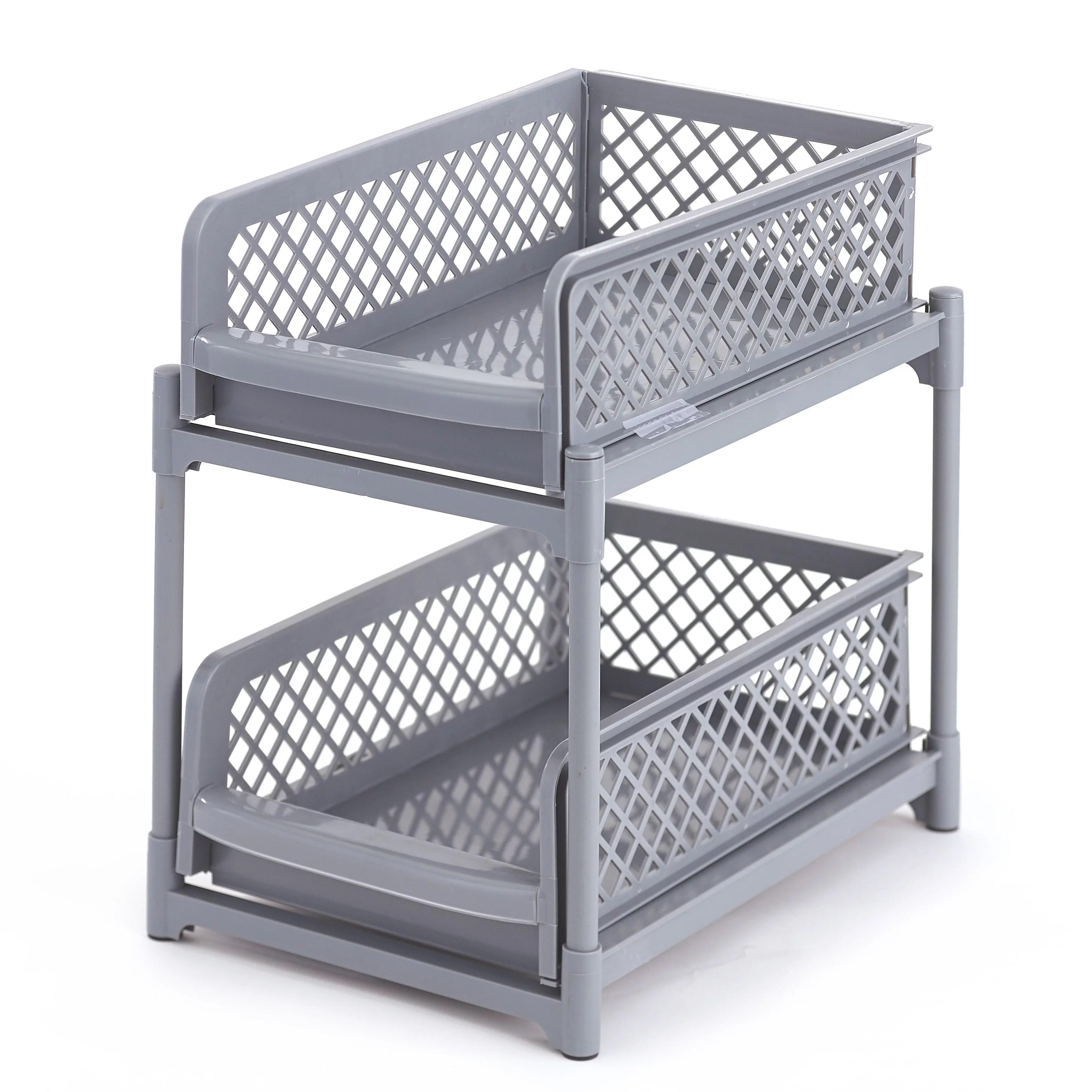 2 tier sliding basket under sink organizer and storage gray