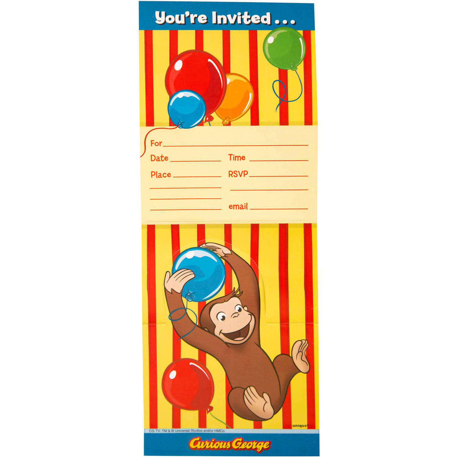 curious george balloons invitations w env 8ct