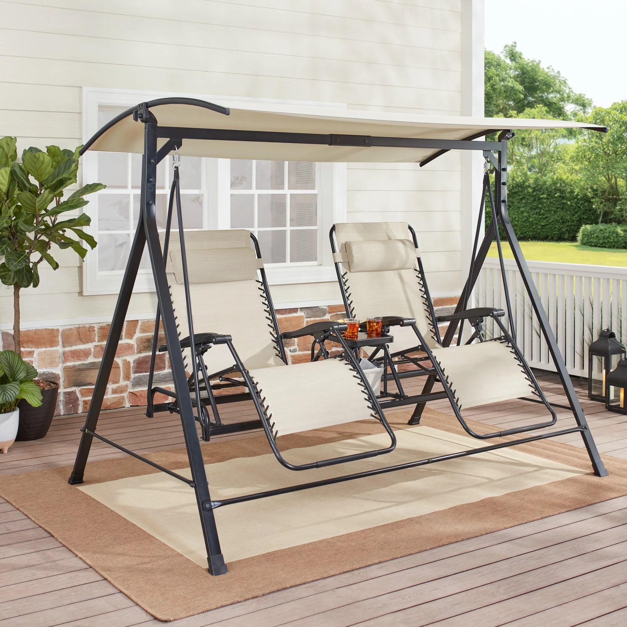 mainstays zero gravity steel porch swing beige black walmart com