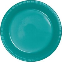 Tropical Teal Party Supplies 9 inch Plastic Dinner Plates