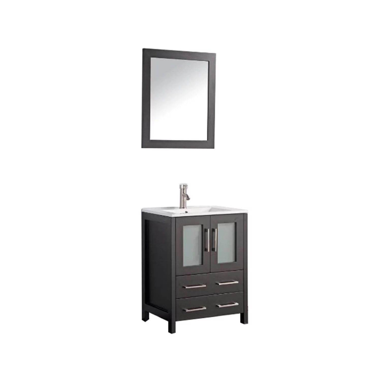 vanity art 24 inch single sink bathroom vanity set with ceramic vanity top walmart com
