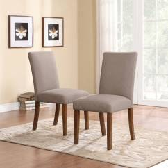 Small Dining Chairs Used Chair Covers Wedding For Sale Dorel Living Linen Parsons Set Of 2 Dark Pine With Gray Seats Walmart Com