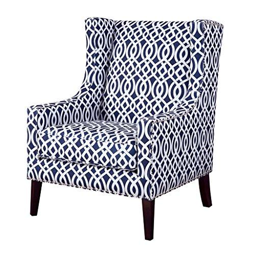 Contemporary Wingback Upholstered Navy Blue and Off White