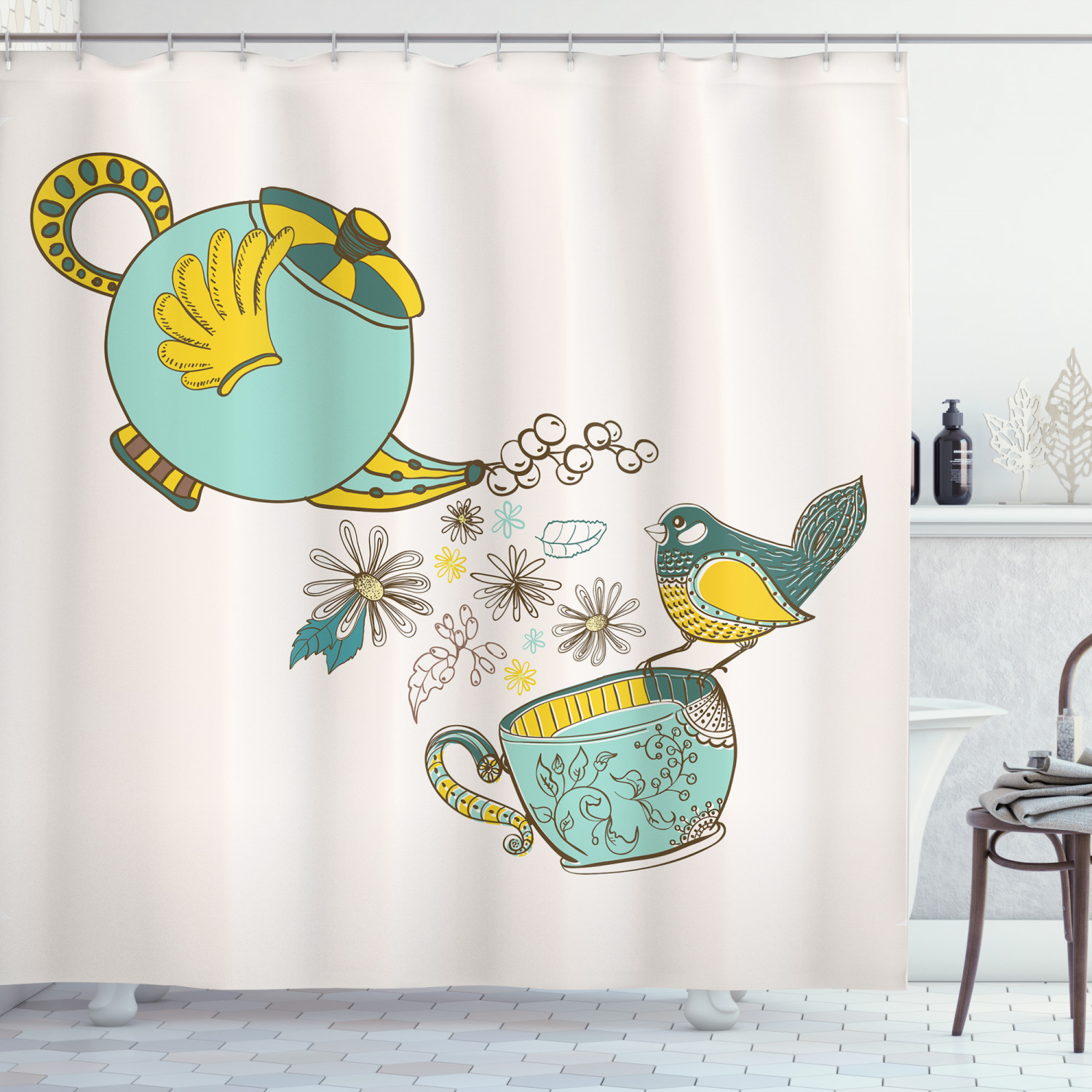 tea shower curtain bird drinking winged teapot alice in wonderland style friends flowers spring fabric bathroom set with hooks 69w x 84l inches