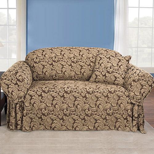 Sure Fit Scroll Brown Sofa Slipcover Walmart Com