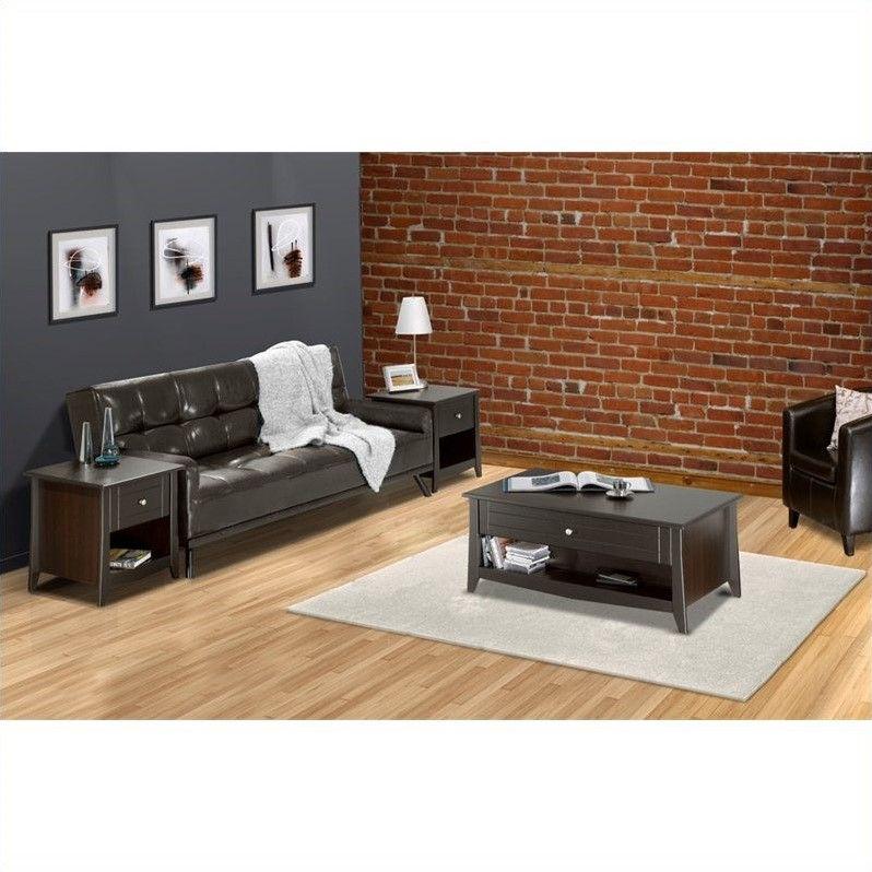 3 piece living room table set ceiling designs images nexera elegance in espresso