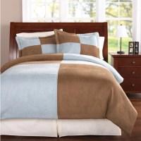 Mainstays Bedding Colorblock Microsuede Comforter Cover ...