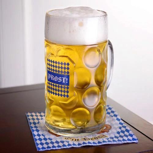 "Oktoberfest Haus 1 Liter ""Prost"" Dimpled Glass Beer Stein - Walmart.com"