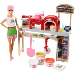 Barbie Kitchen Playset Commercial Sink Faucet Cooking Baking Pizza Making Chef Doll Play Set Walmart Com