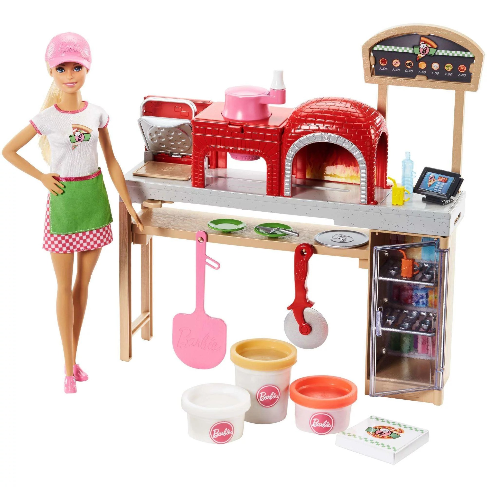 barbie kitchen playset trash can dimensions cooking baking pizza making chef doll play set walmart com