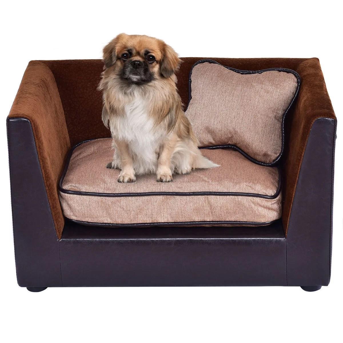 soft sofa dog bed diy concrete table costway pet lounge puppy pu warm snuggle qty
