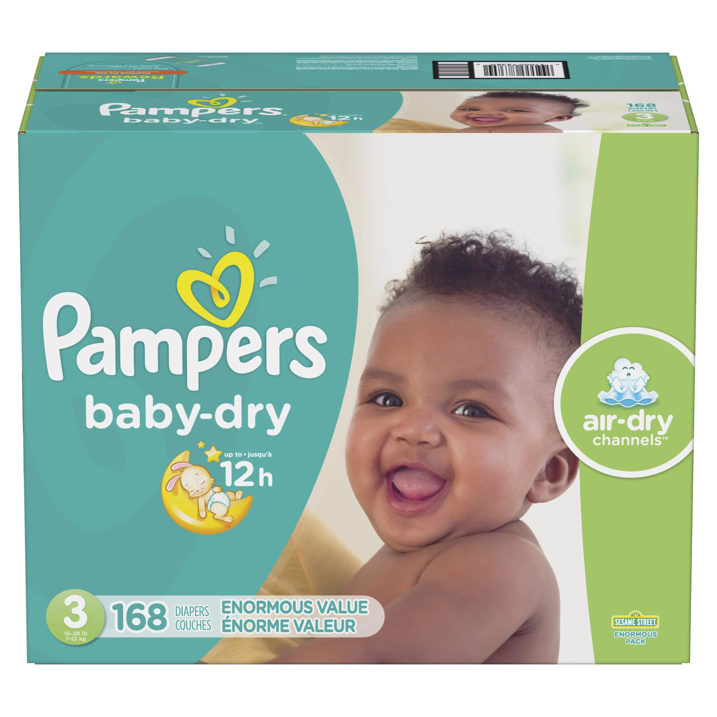Pampers Baby-Dry Extra Protection Diapers Size 3 168 ...