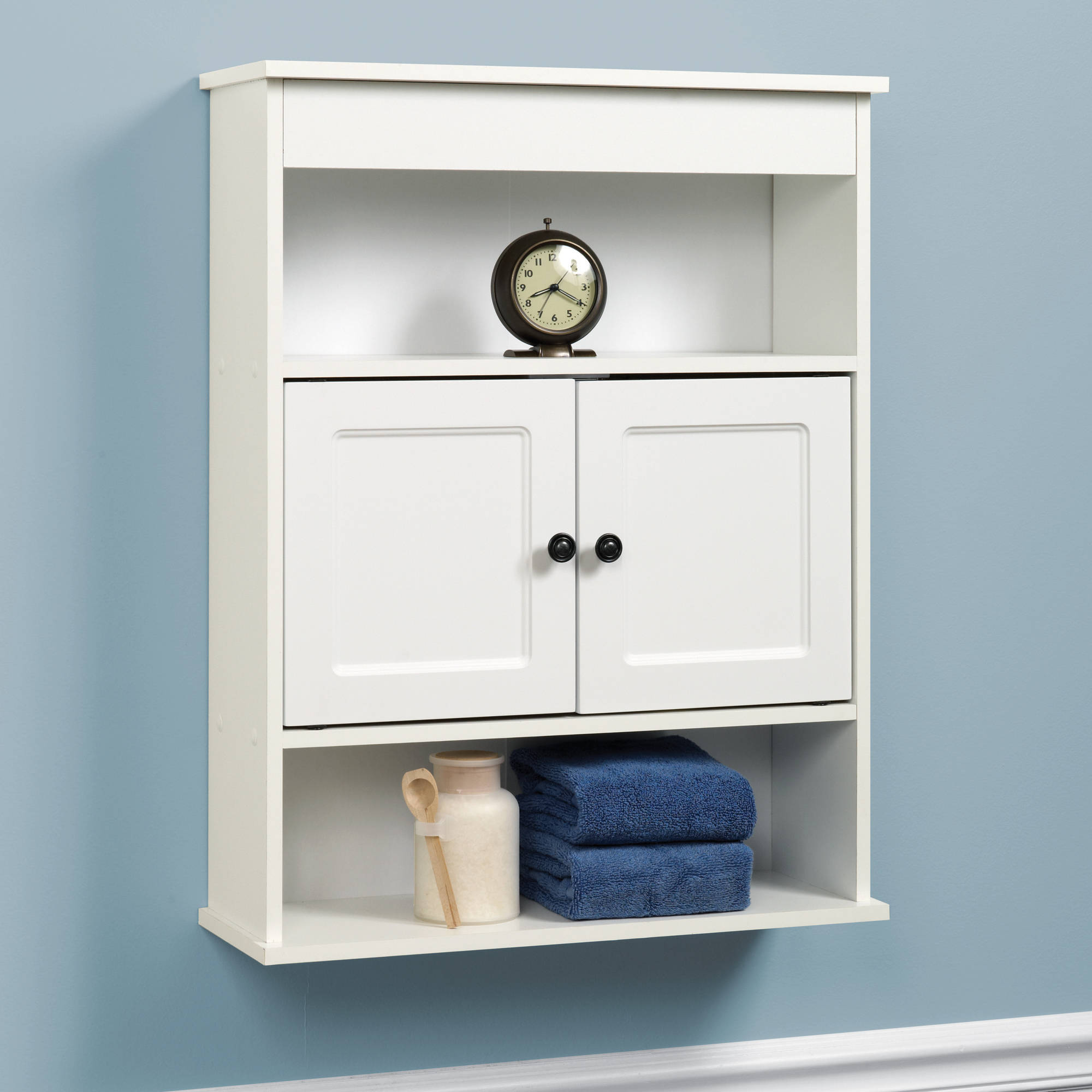 Cabinet Wall Bathroom Storage White Shelf Organizer Over Toilet Mount Towel Bath  eBay