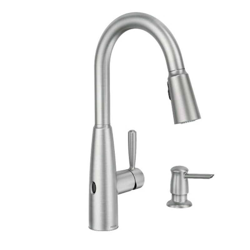 moen sperry motionsense wave spot resist stainless one handle pulldown kitchen faucet