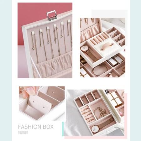 Jewelry Storage Box Double Layer Adjustable Bracelet Necklace Box Earrings Ring Storage Lipsticks Display Case Organizer Makeup Organizer Flannel