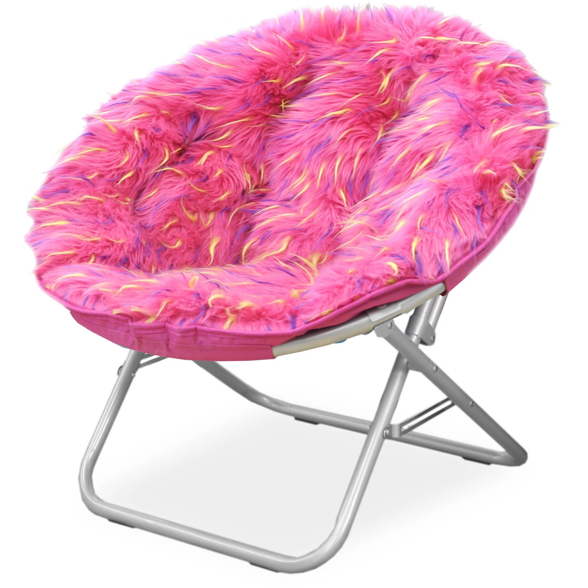 saucer chair for kids bergere chairs sale your zone spiker faux fur multiple colors walmart com