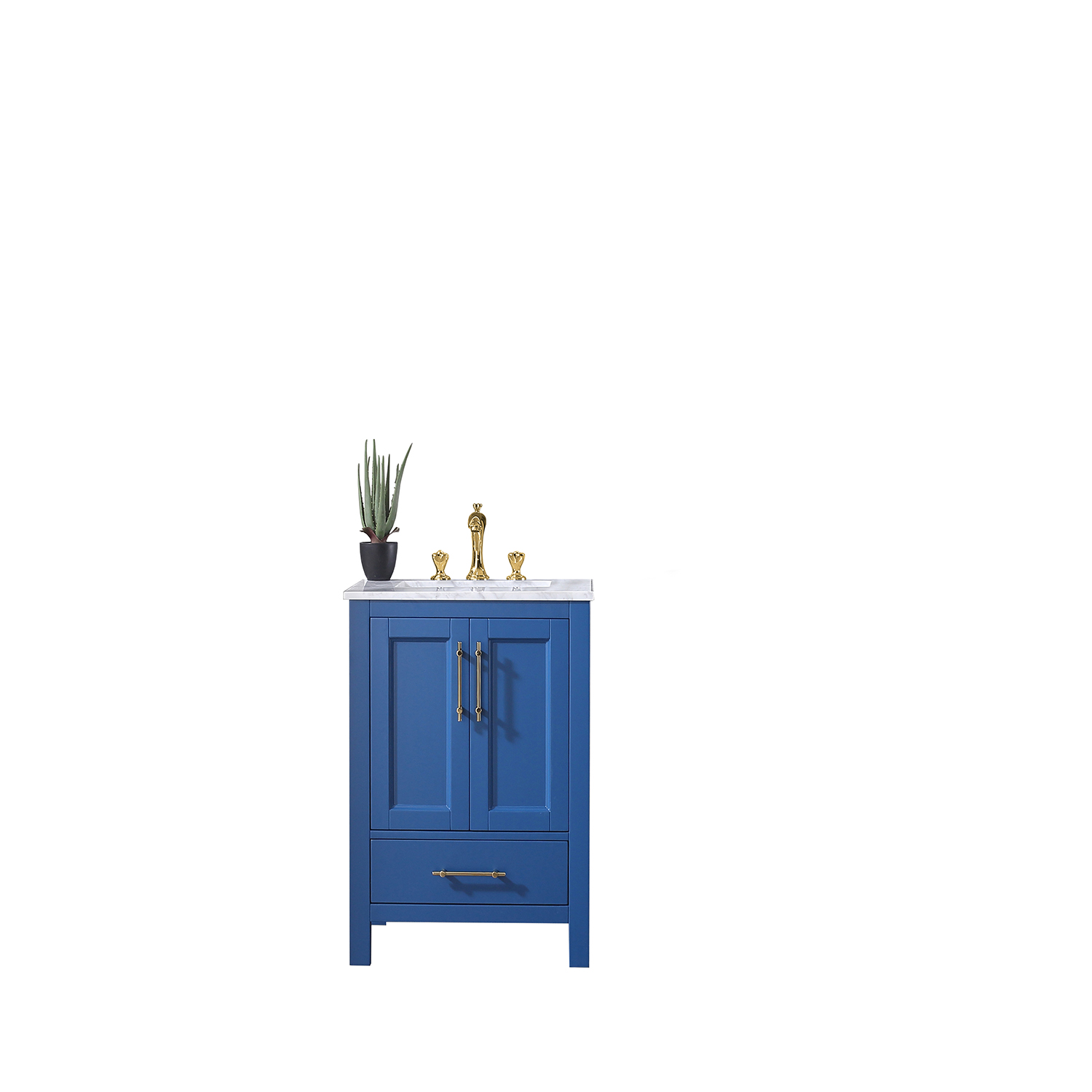 eviva navy 24 inch deep blue bathroom vanity with white carrara counter top and white undermount porcelain sink