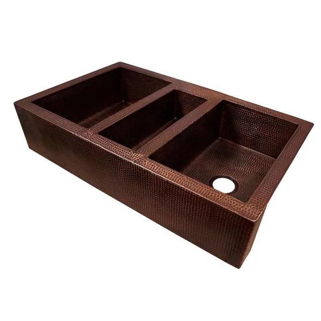 copper design cfs tpl 4225 db copper triple bowl farmhouse kitchen sink dark brown 9 x 25 x 42 in walmart com