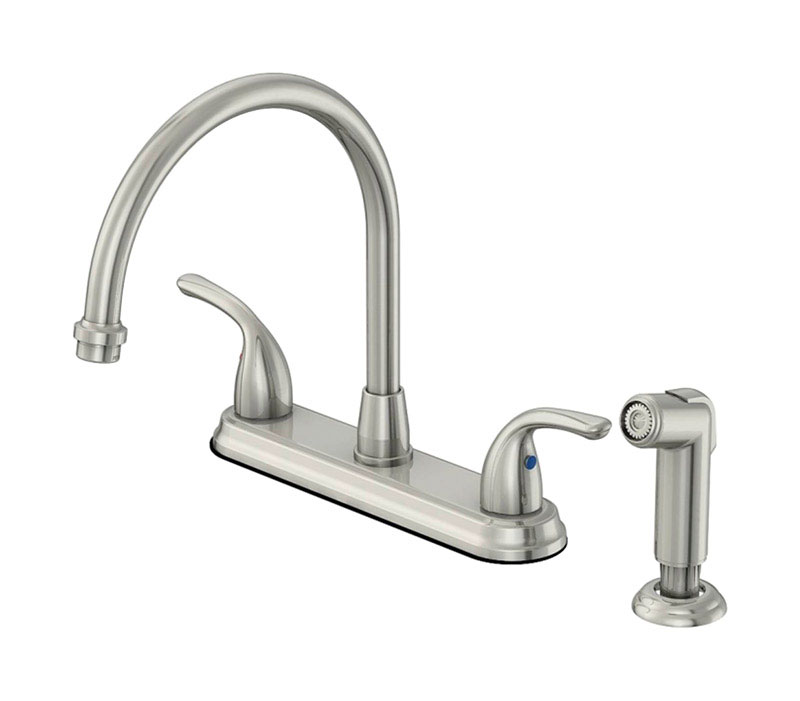 oakbrook pacifica high arc two handle kitchen faucet with side sprayer