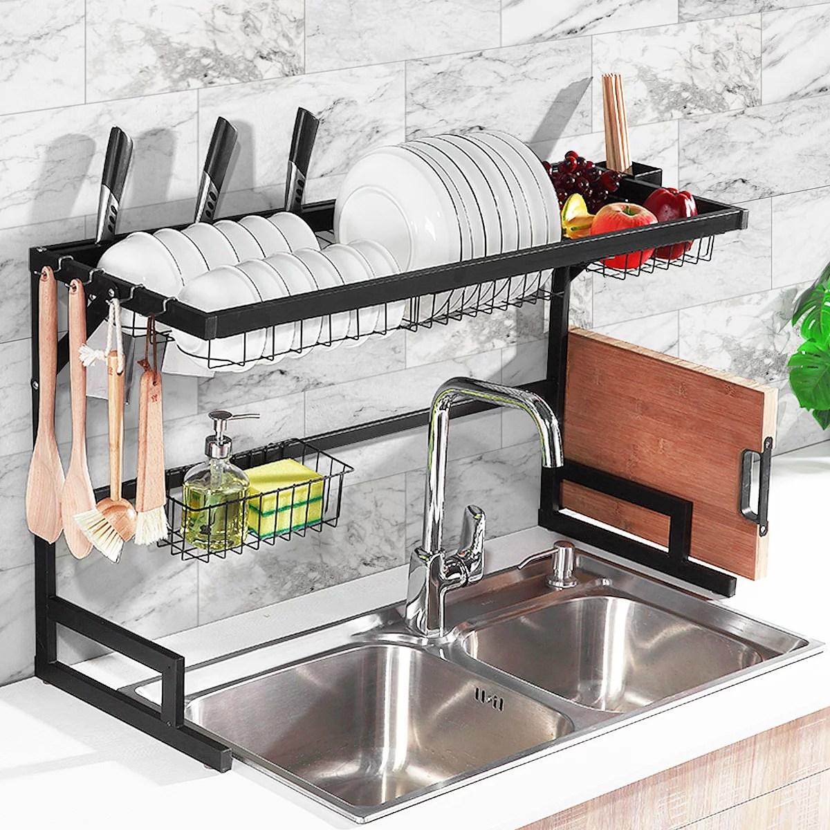 2 tier sink rack dish drainer kitchen sink rack storage rack over the sink dish rack stainless steel metal pp