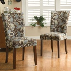 Parson Chairs Holiday Chair Back Covers Weston Home Royal Leaf Design Fabric Brown Set Of 2 Walmart Com