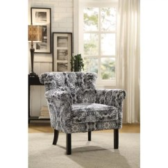 Black And White Paisley Accent Chair Big Bean Bag Canada Cottage Print Fabric In Walmart Com
